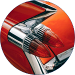 Circular icon of a stylish car