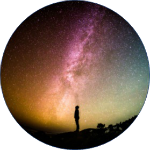Circular icon of a person gazing at a starry sky